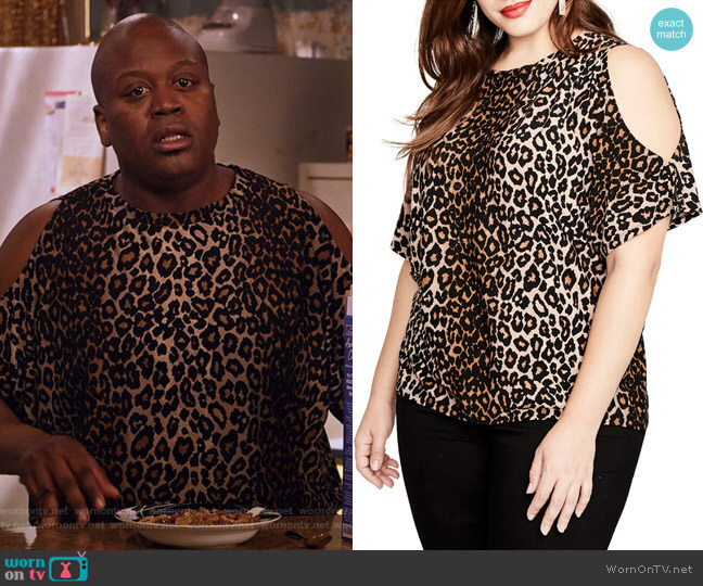 Leopard Print Cold Shoulder Top by Rachel Rachel Roy worn by Tituss Burgess on Unbreakable Kimmy Schmidt