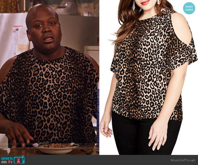 2efa61473f157 Leopard Print Cold Shoulder Top by Rachel Rachel Roy worn by Titus (Tituss  Burgess)