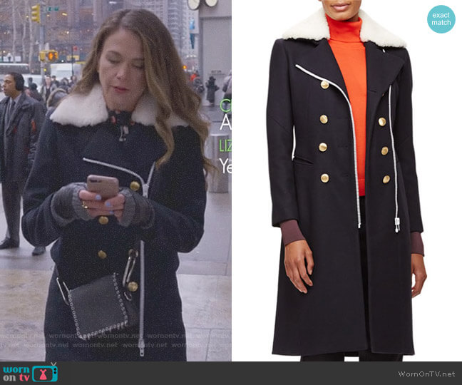 Sullivan Double-Breasted Coat w Shearling Collar by Rag & Bone worn by Liza Miller (Sutton Foster) on Younger
