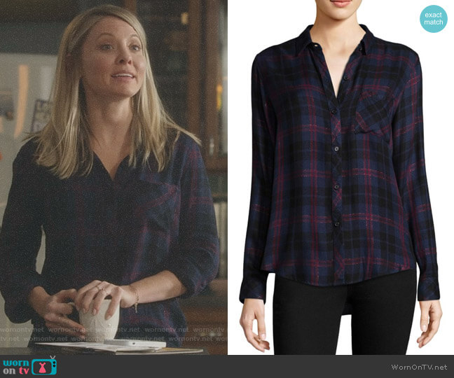 Hunter Shirt in Midnight Merlot Gold by Rails worn by Kaitlin Doubleday on Nashville
