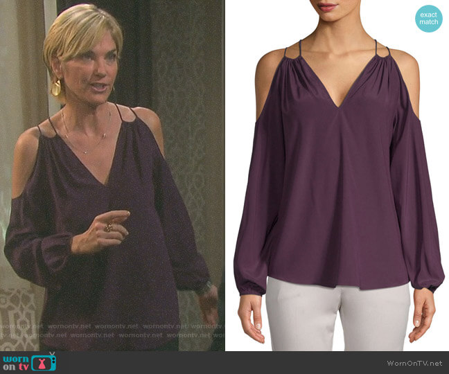 Cold-Shoulder Stretch Silk Blouse by Ramy Brook worn by Eve Donovan (Kassie DePaiva) on Days of our Lives