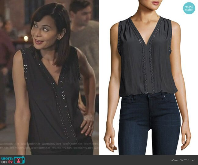 Julia V-Neck Sleeveless Top with Ring Details by Ramy Brook worn by Cassandra Nightingale (Catherine Bell) on Good Witch