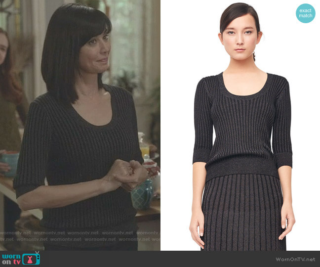 Lurex Rib Scoop Neck Pullover by Rebecca Taylor worn by Catherine Bell on Good Witch