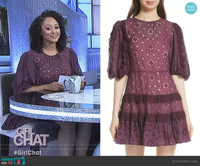 Pinwheel Eyelet Dress by Rebecca Taylor worn by Tamera Mowry on The Real