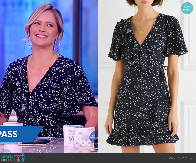 Flores ruffled printed crepe wrap mini dress by Rebecca Vallance worn by Sara Haines  on The View
