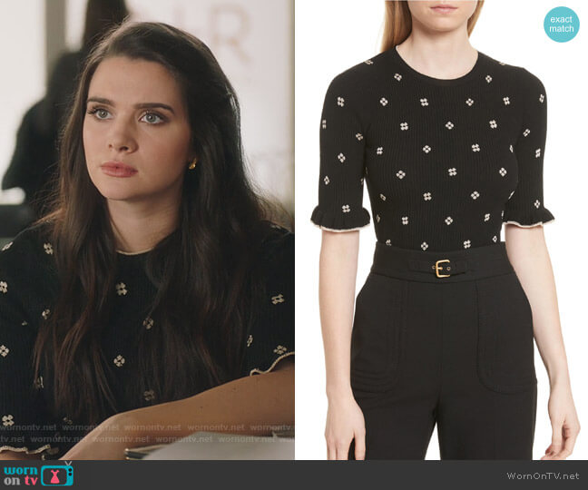 Flower Intarsia Knit Top by RED Valentino worn by Jane Sloan (Katie Stevens) on The Bold Type
