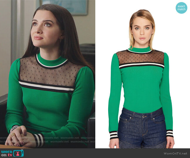 Stretch Viscose Pullover with Point D'Esprit by RED Valentino worn by Jane Sloan (Katie Stevens) on The Bold Type
