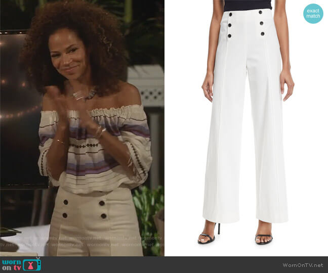 High-Waist Wide-Leg Poplin Pants by Robert Rodriguez worn by Lena Adams Foster (Sherri Saum) on The Fosters