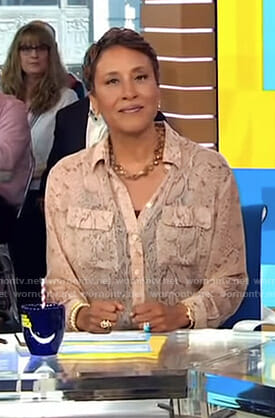 Robin's beige snakeskin print blouse on Good Morning America