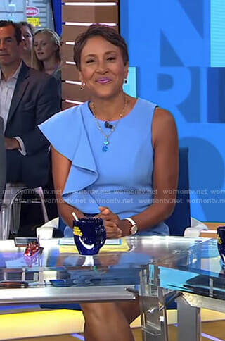 Robin's blue ruffled sheath dress on Good Morning America