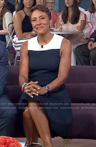 Robin's navy colorblock dress on Good Morning America