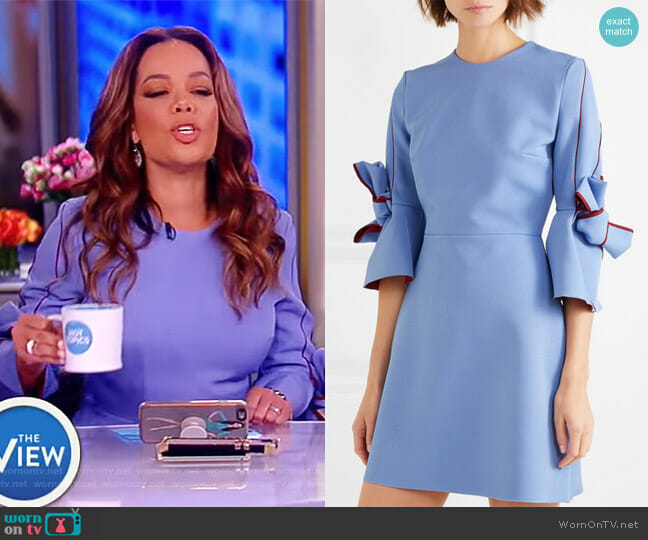 Harlin bow-sleeve bonded crepe mini dress by Roksanda worn by Sunny Hostin  on The View