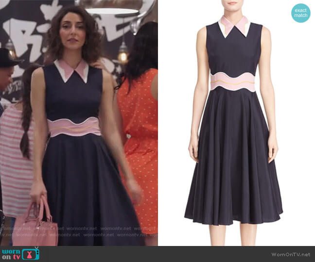 'Varga' Sleeveless midi Dress by Roksanda worn by Delia (Necar Zadegan) on GG2D
