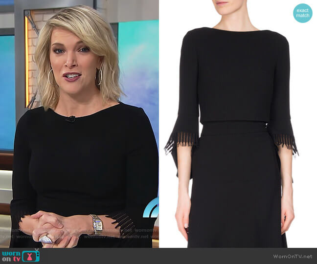 Liverton Fringe 3/4 Sleeve Crop Top by Roland Mouret worn by Megyn Kelly on Today