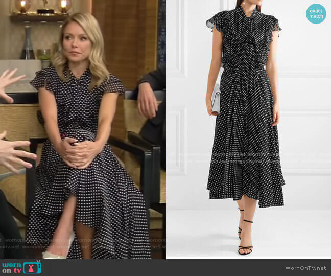 Ruffled Polka-Dot Midi Dress by Michael Kors Collection worn by Kelly Ripa  on Live with Kelly & Ryan