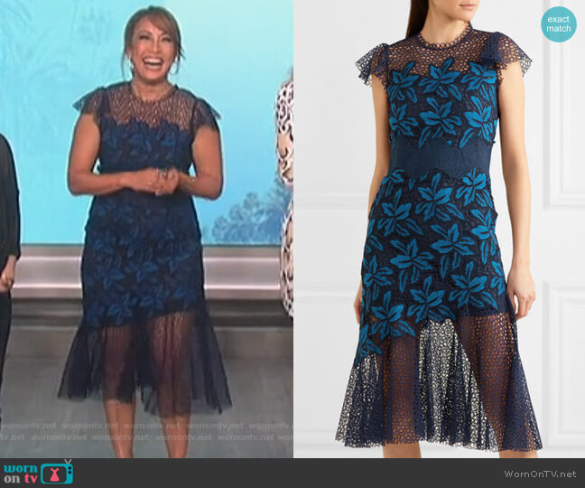Mosaic guipure lace midi dress by Sea worn by Carrie Inaba on The Talk