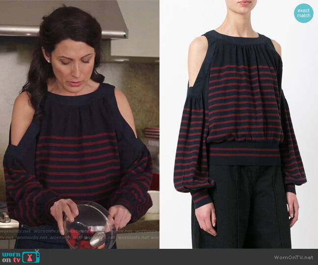 Cold Shoulder Knitted Top by Sacai worn by Lisa Edelstein on GG2D