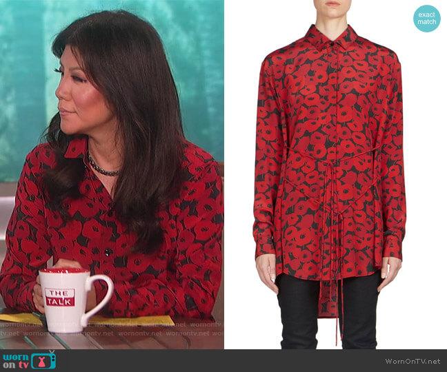 Silk Poppy-Print Blouse by Saint Laurent worn by Julie Chen on The Talk
