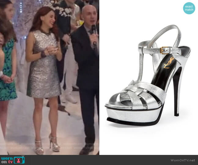 Tribute Metallic Leather Platform Sandal by Saint Laurent worn by Alanna Ubach on GG2D
