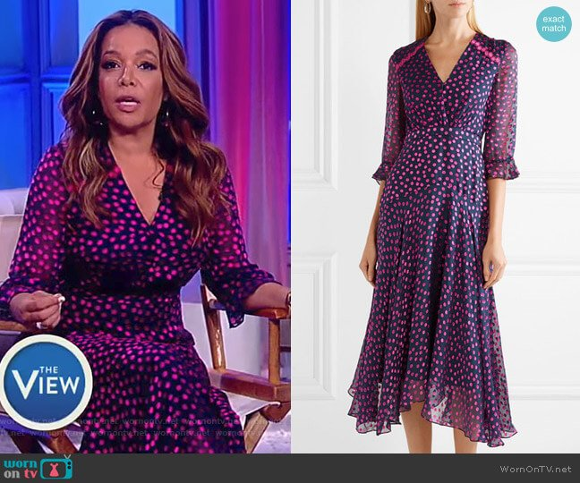 Edith polka-dot flocked silk-blend chiffon midi dress by Saloni worn by Sunny Hostin  on The View