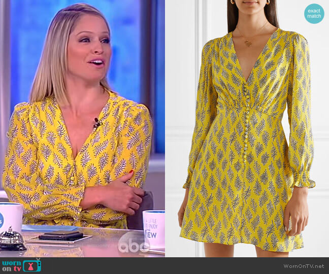 Eve printed silk crepe de chine mini dress by Saloni worn by Sara Haines  on The View