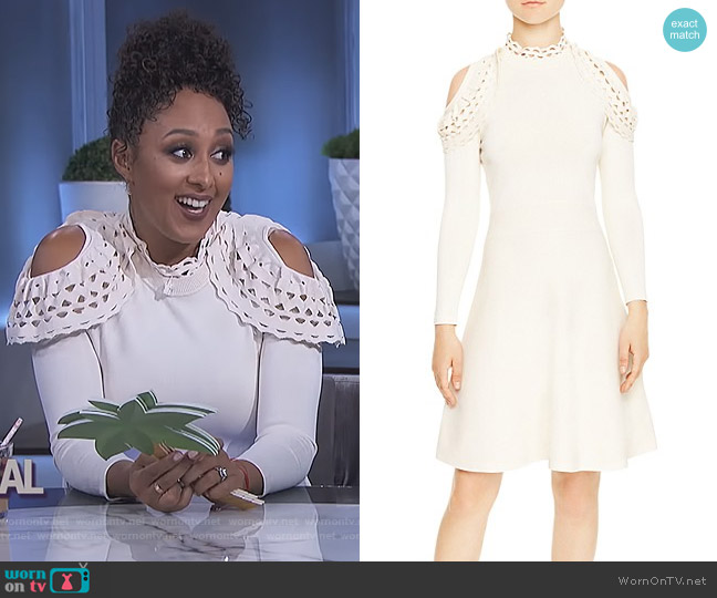 Flavio Cold-Shoulder Cutout Dress by Sandro worn by Tamera Mowry  on The Real
