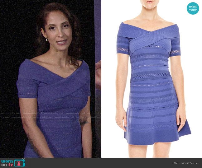 Sandro Off Shoulder Top and Skater Skirt worn by Lily Winters (Christel Khalil) on The Young & the Restless