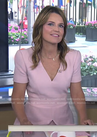 Savannah's pink v-neck short sleeved dress on Today