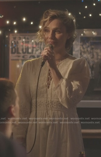 Scarlett's white eyelet lace-up dress on Nashville
