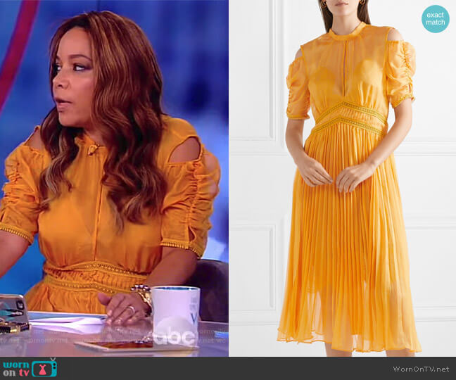 Cold-shoulder pleated chiffon midi dress by Self Portrait worn by Sunny Hostin on The View