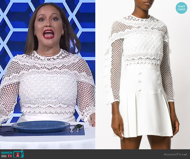 Lace Detail Long Sleeve Dress by Self Portrait worn by Adrienne Houghton  on The Real