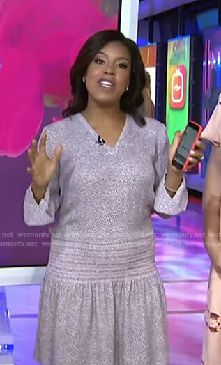 Sheinelle's pink printed smocked dress on Today