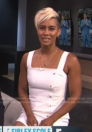 Sibley's white button detail mini dress on E! News