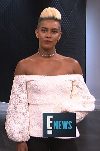 Sibley's white embroidered off the shoulder top on E! News