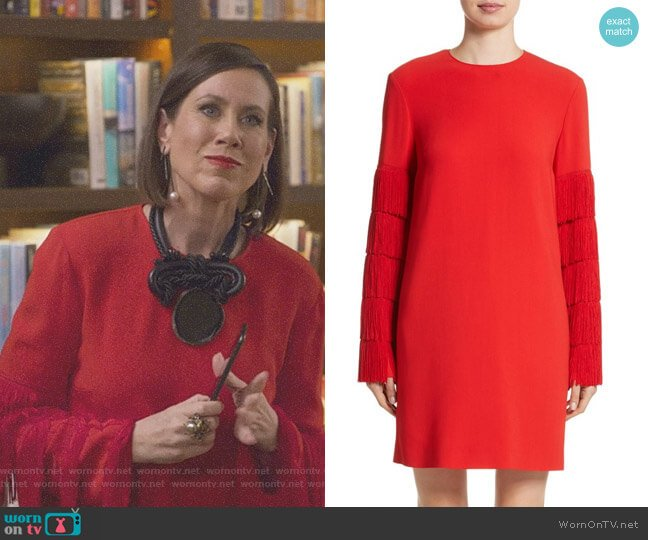 Fringe Sleeve Stretch Cady Dress by Stella McCartney worn by Diana Trout (Miriam Shor) on Younger