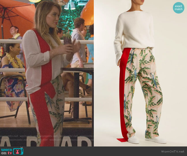 Palm Print Silk Trousers by Stella McCartney worn by Hilary Duff on Younger