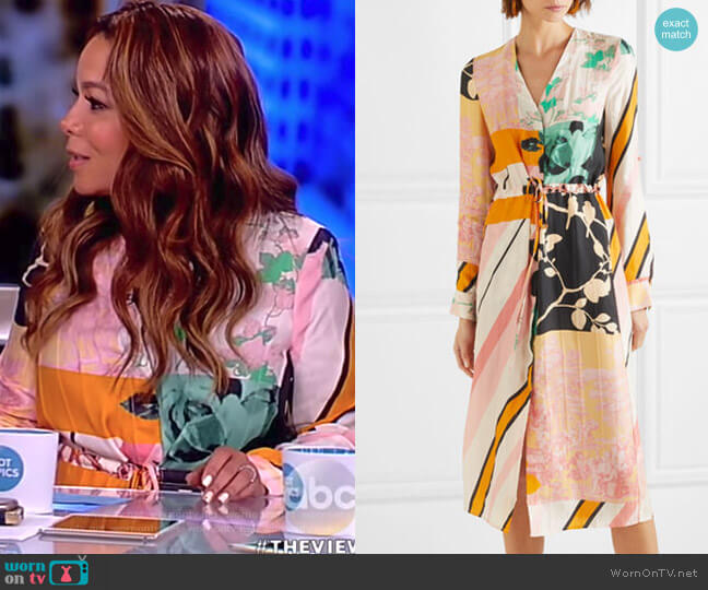 Camilla printed satin-twill dress by Stine Goya worn by Sunny Hostin  on The View