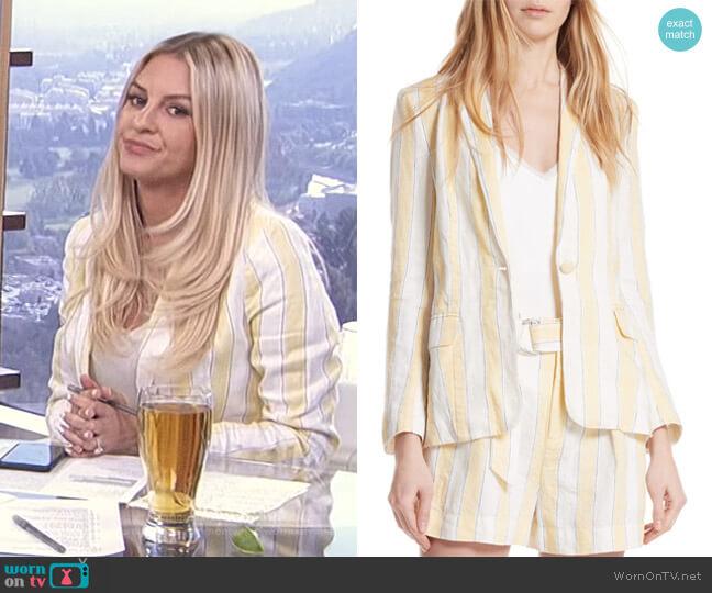 Stripe Linen Blazer by Frame worn by Morgan Stewart  on E! News