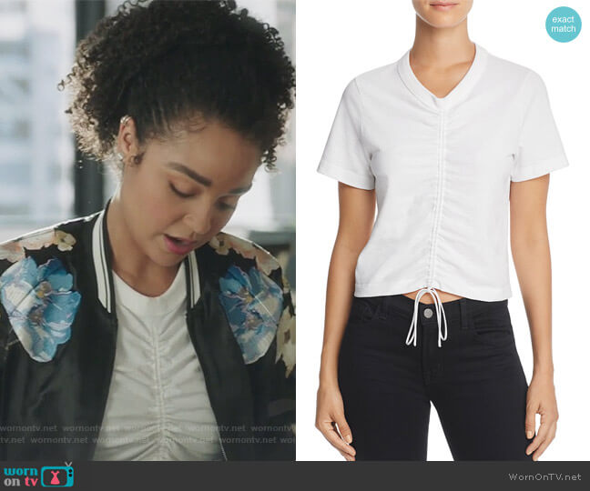 Ruched Short Sleeve Tee by T by Alexander Wang worn by Kat Edison (Aisha Dee) on The Bold Type