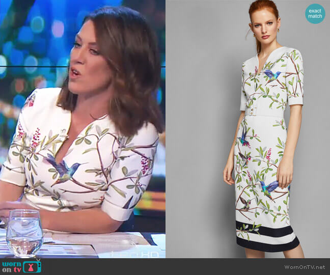 'Everly' Highgrove bodycon midi dress by Ted Baker worn by Gorgi Coghlan on The Project