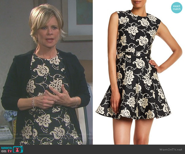 Peplum Hem Floral Embroidered Dress by Ted Baker worn by Kayla Brady (Mary Beth Evans) on Days of our Lives