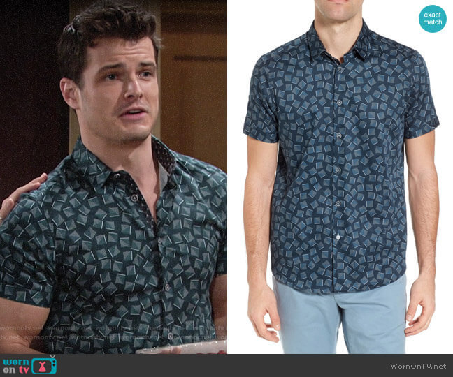 Ted Baker Tern Geo Print Sport Shirt worn by Kyle Abbott (Michael Mealor) on The Young & the Restless
