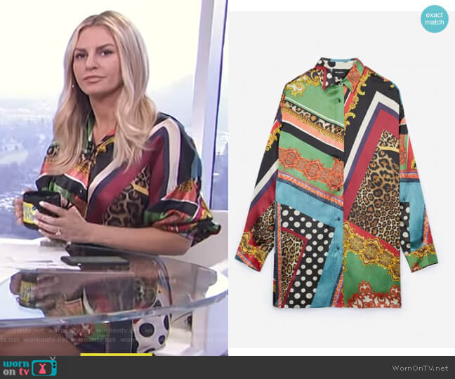 Baroque Printed Silk Shirt by The Kooples worn by Morgan Stewart  on E! News