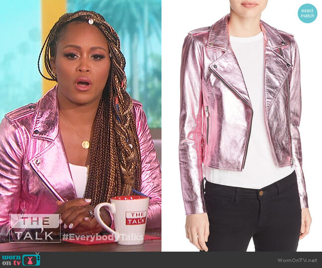 Lecce Metallic Leather Biker Jacket by The Mighty Company worn by Eve on The Talk