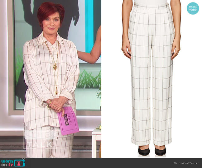 Wendel Checked Silk Tapered Pants by The Row worn by Sharon Osbourne  on The Talk