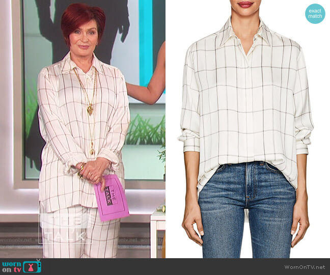 Sisea Windowpane-Checked Silk Satin Blouse by The Row worn by Sharon Osbourne on The Talk