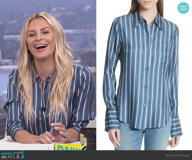 Darby Silk Button Shirt by Theory worn by Morgan Stewart  on E! News