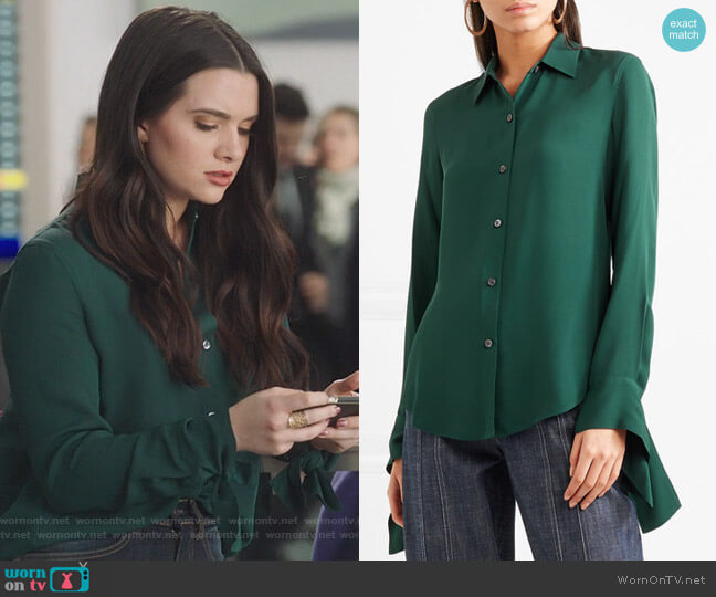 Silk-crepe shirt by Theory worn by Katie Stevens on The Bold Type