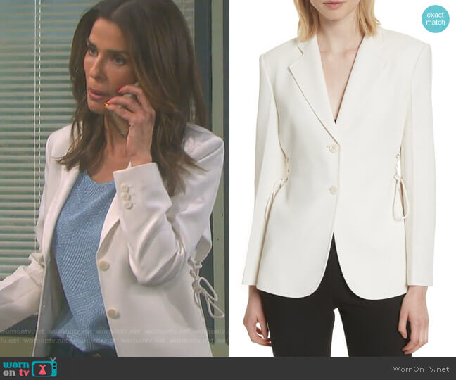 Admiral Crepe Lace-Up Suit Jacket by Theory worn by Kristian Alfonso on Days of our Lives
