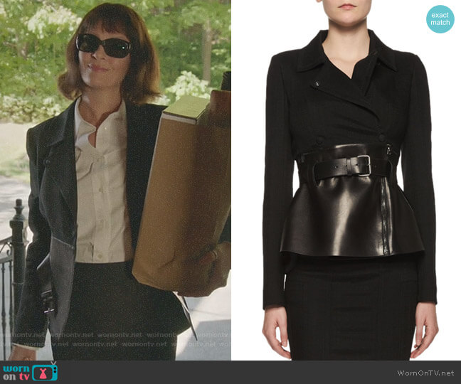 Belted Leather Peplum Wrap Jacket by Tom Ford worn by Uma Thurman on Imposters
